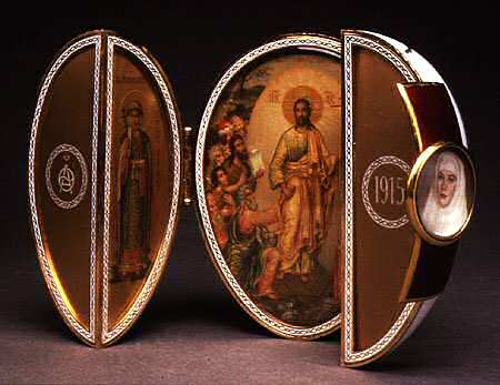 egg Red cross with triptych Faberge