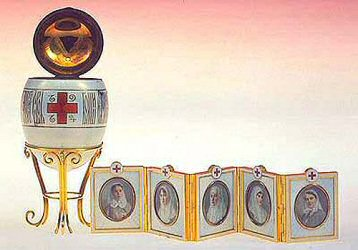 Red cross with Imperial portraits Faberge